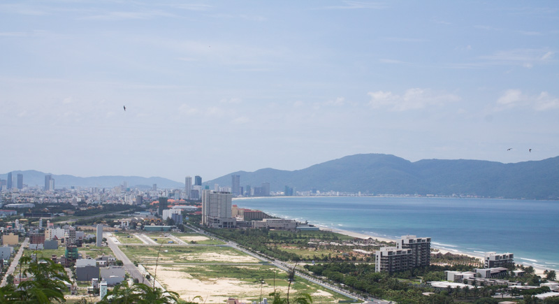 View of DaNang from the Marble Mountain, Hai Van Pass Tour