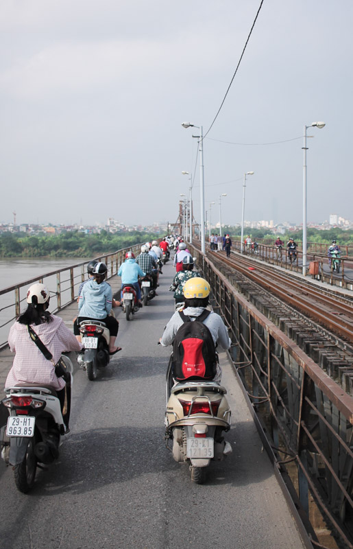 Motorbikes on Long Bien Bridge, Hanoi